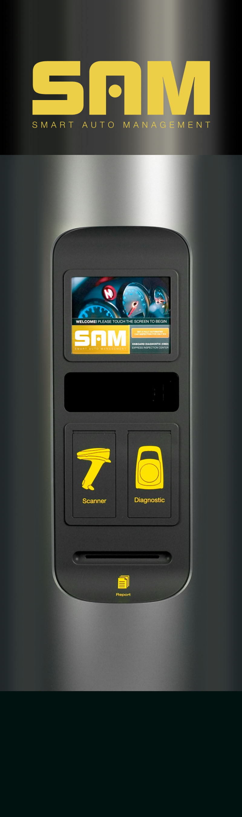 revolutionary automotive kiosk 39 sam 39 scans analyzes and reports important vehicle information. Black Bedroom Furniture Sets. Home Design Ideas