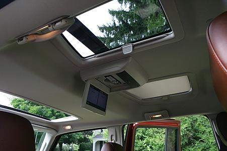 The Jeep Commander had for the second row passenger's two skylights that are