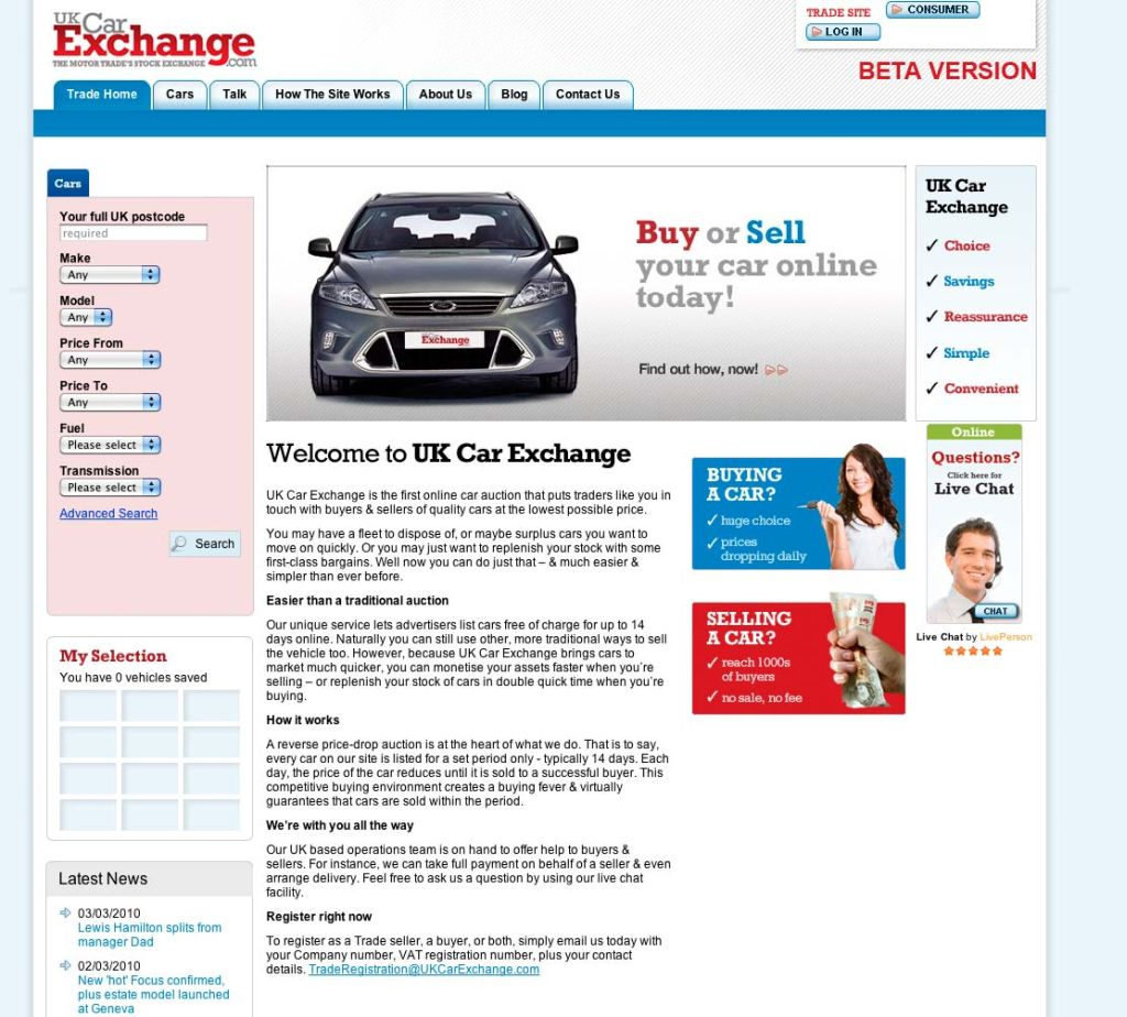 UK's First Online Price-Drop Car Auction Offers New Route