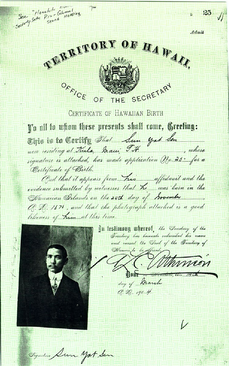 Wheres the birth certificate the case that barack obama is not sun yat sens hawaiian birth certificate aiddatafo Choice Image