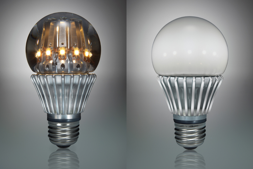 switch lighting 39 s 100 led light bulbs clear on left frosted on right. Black Bedroom Furniture Sets. Home Design Ideas