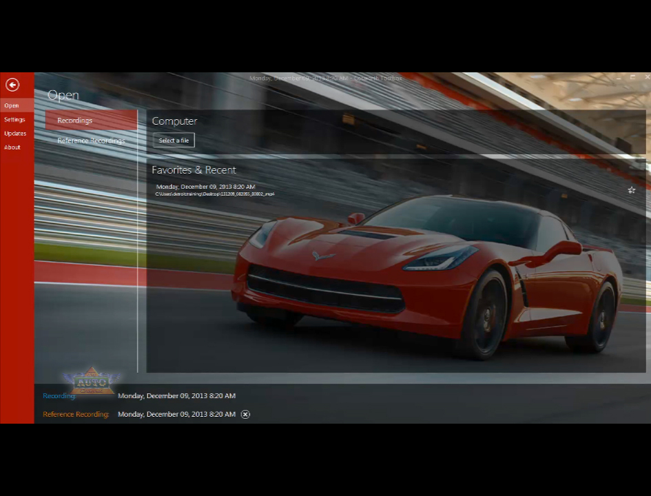 Corvette Stingray Performance Data Recorder Interface